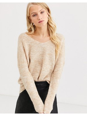 Only brushed rib v neck sweater-beige