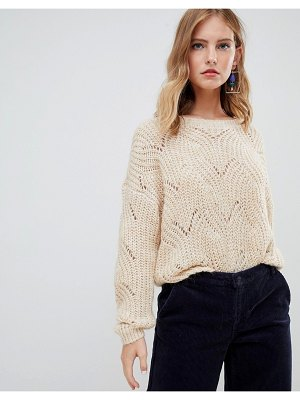 Only cable knit sweater-beige