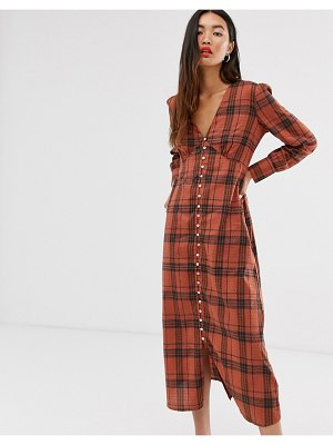 Only check maxi dress with button through detail-brown