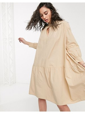 Only cotton smock dress with tie neck in beige-brown