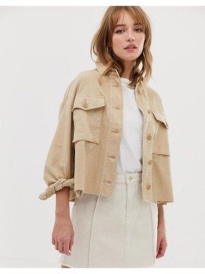 Only cropped utility jacket-tan