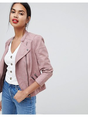 Only faux leather biker jacket-pink