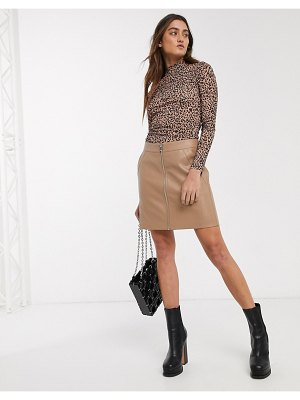Only faux leather biker skirt in beige-pink