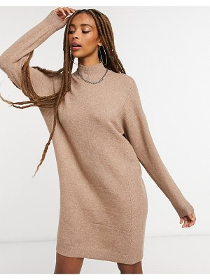 Only high neck sweater dress in brown