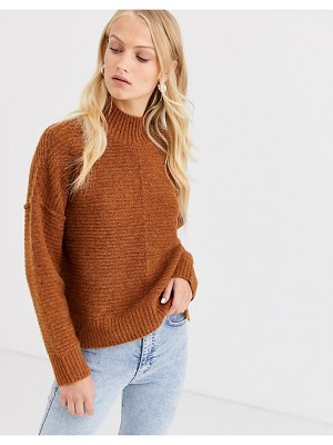 Only highneck rib knitted sweater-brown