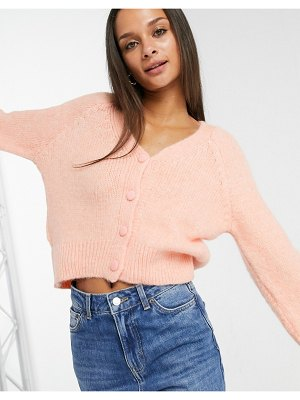 Only knitted cardigan with balloon sleeve in peach-pink