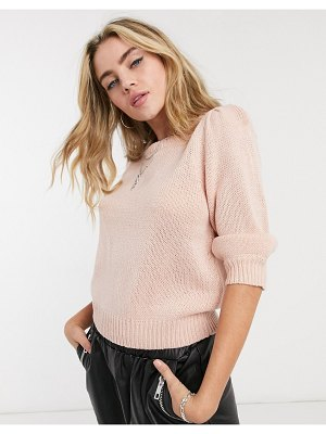 Only knitted sweater with puff sleeves in pink