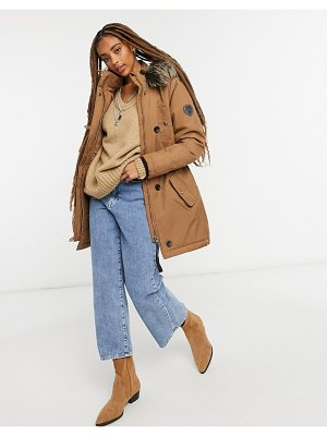Only parka coat with faux fur hood in brown