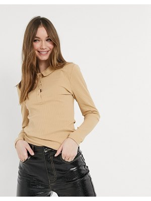 Only polo top in beige