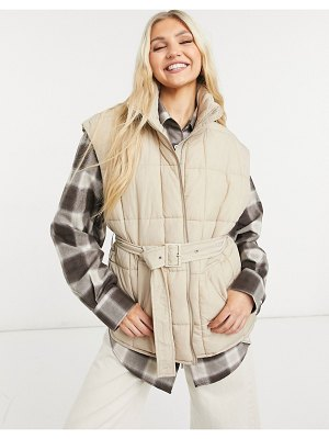 Only quilted vest with belt in beige