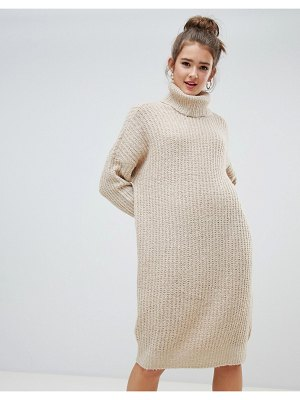 Only roll neck midi sweater dress in beige