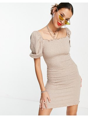 Only shirred body-conscious dress with puff sleeve in beige-neutral
