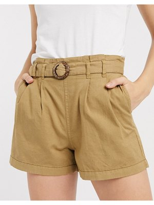 Only shorts with belt in tan-brown