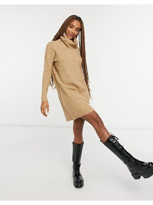 Only sweater dress with roll neck in brown