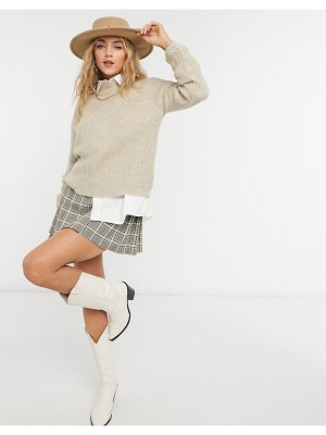 Only sweater with mock-neck in beige-brown