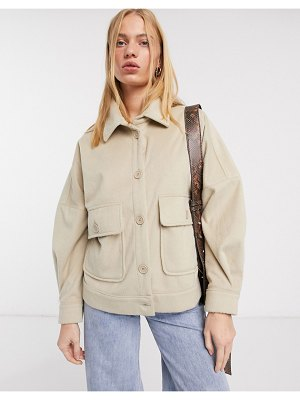 Only textured trucker jacket in cream