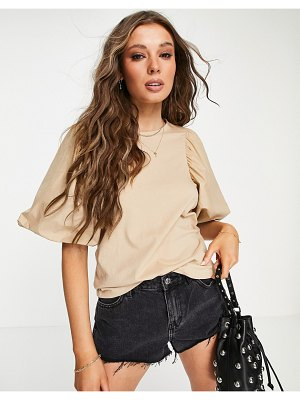Only top with poplin puff sleeve in beige-neutral