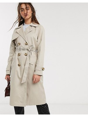 Only trench coat with check lining in beige-tan