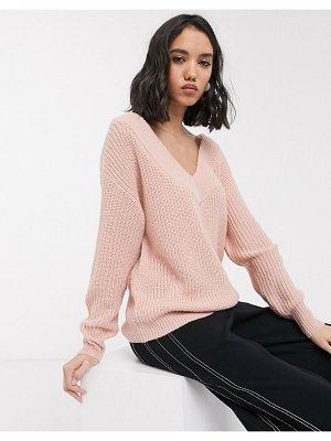 Only v neck knitted sweater in pink