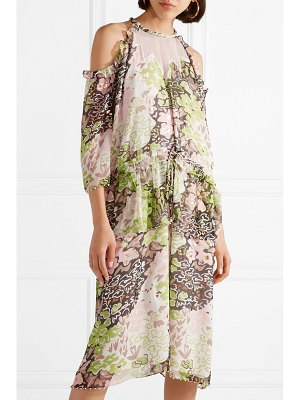 Opening Ceremony cold-shoulder embellished printed crinkled-chiffon midi dress