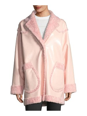 OPENING CEREMONY Reversible Furry Patent Coat