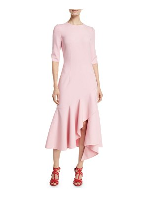 Oscar de la Renta 3/4-Sleeve Drop-Waist Fitted Asymmetric-Hem Midi Dress