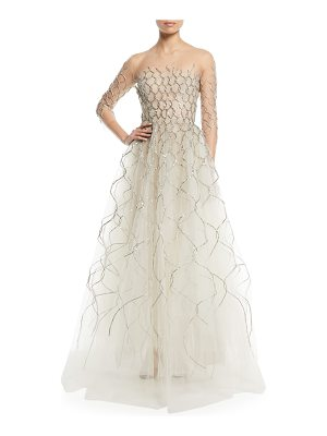 Oscar de la Renta 3/4-Sleeve Lamé Embroidered Tulle Evening Gown