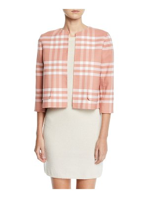Oscar de la Renta 3/4-Sleeve Plaid High-Low Jacket