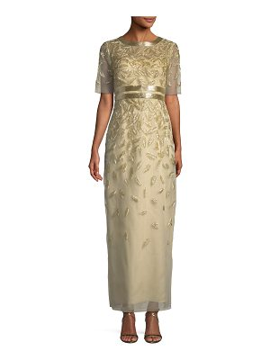 Oscar de la Renta Beaded Sequin Embroidered Short-Sleeve Column Evening Gown