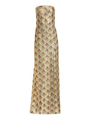 Oscar de la Renta beaded strapless silk gown