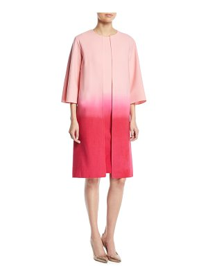 Oscar de la Renta Dip-Dye Ombre 3/4-Sleeve No-Closure Long Jacket