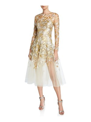 Oscar de la Renta Golden-Leaf Cocktail Dress