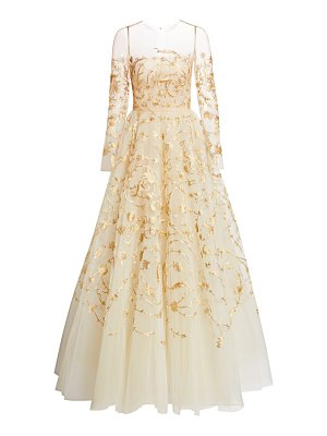 Oscar de la Renta goldtone embroidered illusion tulle gown