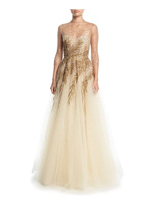 Oscar de la Renta High-Neck Illusion Tulle Evening Gown w/ Sequin Detail