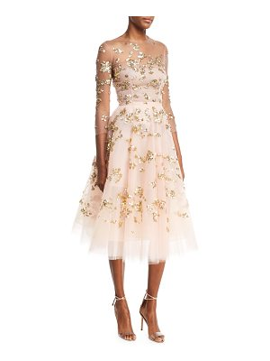 Oscar de la Renta Paillette-Embellished Illusion Cocktail Dress