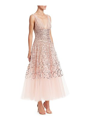 Oscar de la Renta sequin loop embroidered tulle tea-length gown