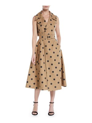 Oscar de la Renta Sleeveless Polka-Dot Twill Tea-Length Dress w/ Wide Belt