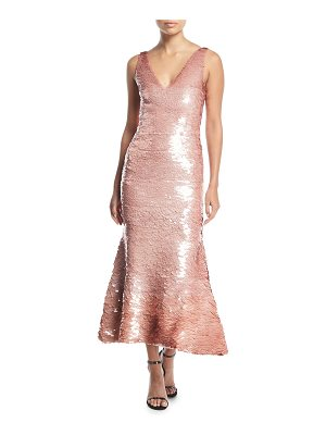 Oscar de la Renta Sleeveless V-Neck Sequined Cocktail Dress