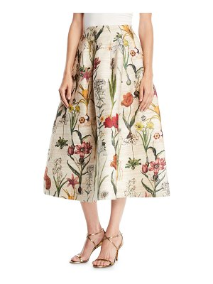 Oscar de la Renta Tea-Length Floral-Jacquard Full Party Skirt