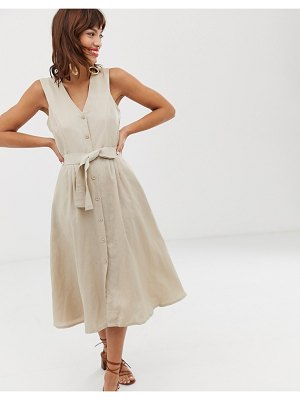 Other Stories &  belted linen blend midi dress in natural beige