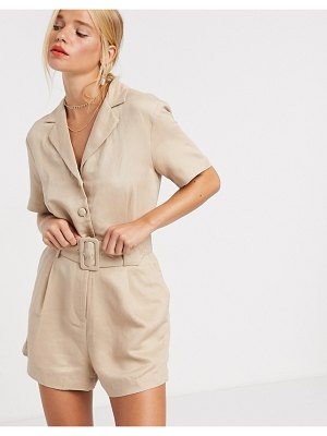 Other Stories &  belted utility romper in beige