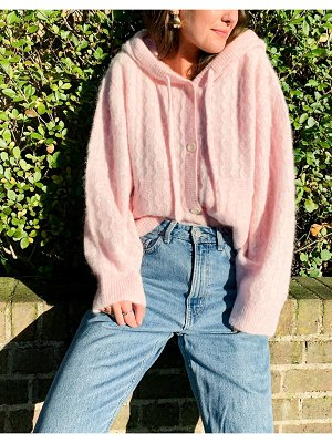 Other Stories &  cable knit hooded cardigan in pink