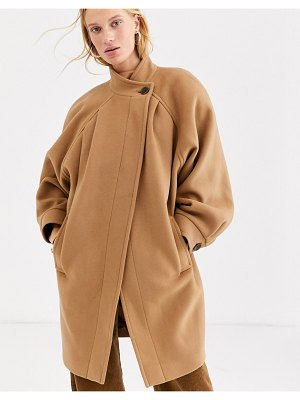 Other Stories &  capsule ovoid button detail pea coat in camel-brown