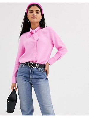 Other Stories &  high neck pussybow blouse in pink