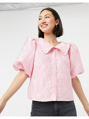 Other Stories &  jacquard collar-detail top in pink