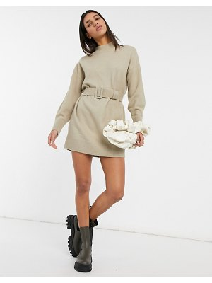 Other Stories &  knit belted mini dress in beige-neutral