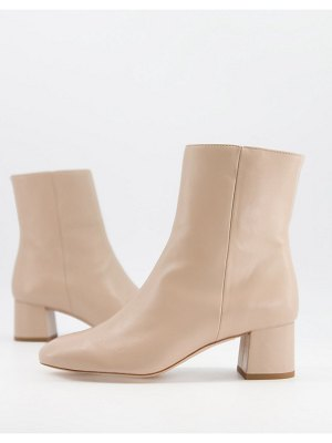 Other Stories &  leather round toe heeled boots in beige