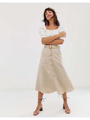Other Stories &  linen button front midi skirt in light beige