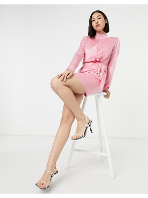 Other Stories &  mini dress with tie detail in pink