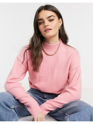 Other Stories &  mock neck sweater in hot pink